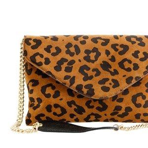 J.Crew Invitation envelope clutch Leopard suede